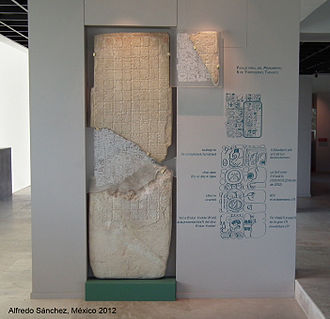 Tortuguero (Maya site) - Monument 6 from Tortuguero, today in Carlos Pellicer Museum, in Villahermosa. Tabasco.