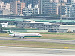 Eva Air MD-90 Taking off from Songshan Airport 20130423.jpg