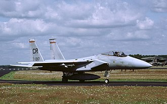 Second Allied Tactical Air Force - A F-15C Eagle of 32d Tactical Fighter Squadron taxiing at Soesterberg Air Base in the mid-1980s