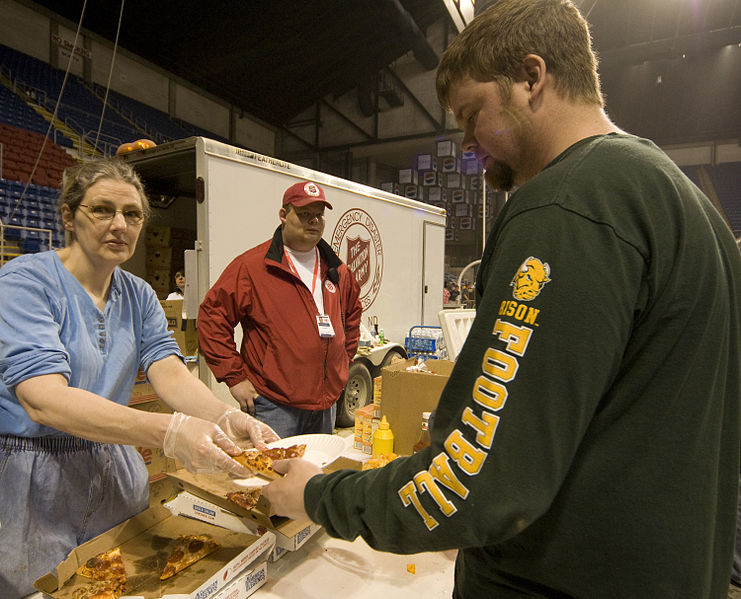 File:FEMA - 40340 - Salvation Army worker giving food to a volunteer in Fargo, North Dakota.jpg
