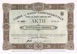 Maggi - Share of the Fabrik von Maggis Nahrungsmitteln, issued 1. July 1908