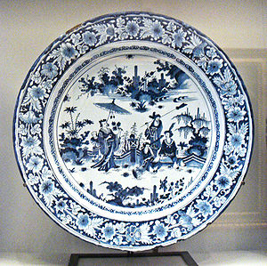 French porcelain - Faience with Chinese scenes, Nevers manufactory, 1680-1700.