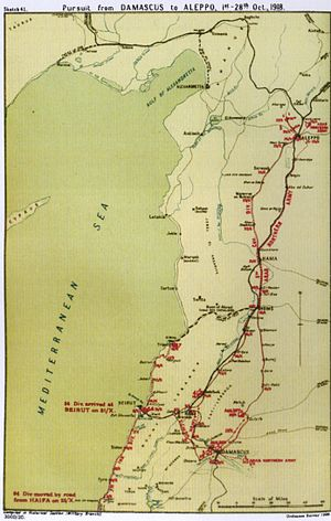 Battle of Aleppo (1918) - Falls Sketch Map 41 Pursuit from Damascus to Aleppo 1 to 28 October 1918