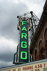 Marquee of the Fargo Theater in downtown Fargo