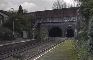Farnworth railway station - The north-west ends of Farnworth tunnel. Original tunnel on left; additional smaller bore of 1880 on right.
