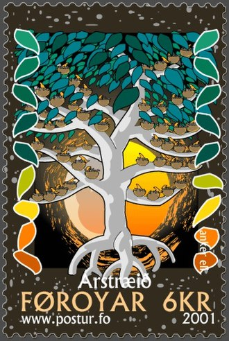 Riddle - Tree of the year – a Faroese stamp depicting a traditional Faroese version of the year-riddle.