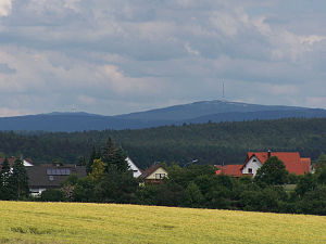 Fichtel Mountains - The Schneeberg (left) and the Ochsenkopf (right), seen from Heinersreuth