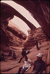 Fiery Furnace Is an Intricate Maze of Narrow Canyons Tourists Are Guided through It by a Ranger Naturalist Who Explains Its Flora, Fauna and Geology Along the Way, 05-1972 (3814963148).jpg