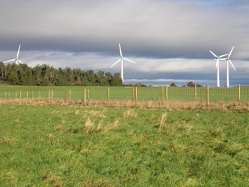 The wind turbines at Findhorn, which make the Ecovillage a net exporter of electricity. Findhorn wind turbines.jpg