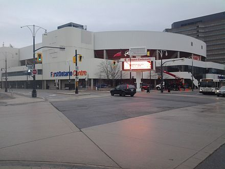 FirstOntario Centre is an indoor arena and home arena for the OHL's Hamilton Bulldogs. FirstOntario Centre.jpg