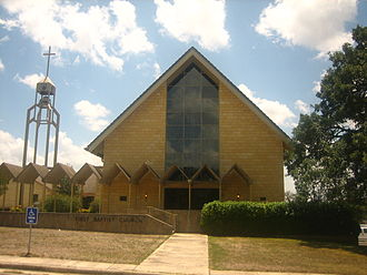 Bandera, Texas - The First Baptist Church of Bandera is across from the Frontier Times Museum