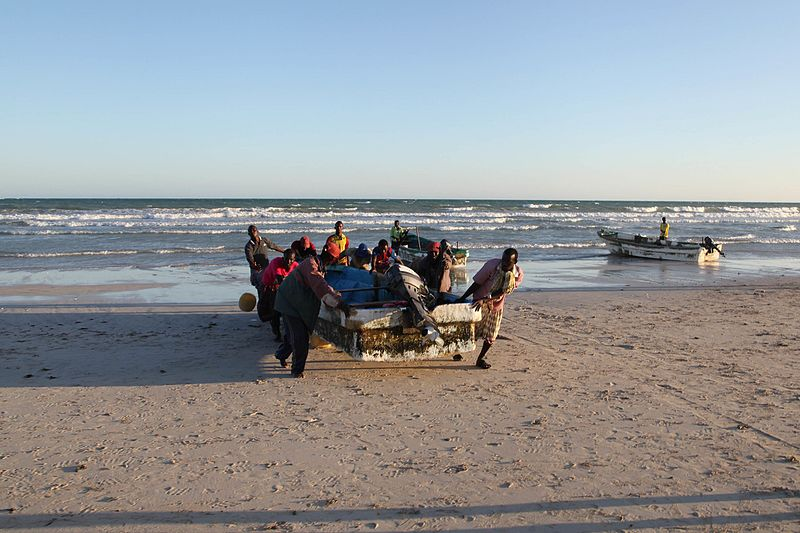 File:Fishermen pull a boat up onto the beach in the town of Adale, Somalia. Burundian soldiers, as part of the African Union Mission in Somalia, yesterday liberated the town of Adale in the Middle Shabelle (15248061289).jpg