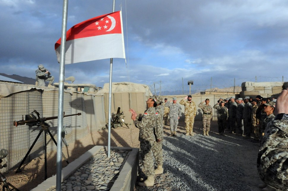 Flag lowering by Singapore troops, Kiwi Base, Bamyan Province, Afghanistan - 20101027