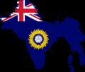 Flag map of British Raj (Blue Ensign).png