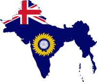 Flag map of British Raj (Blue Ensign).png