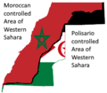 Flag map of the Moroccan and Polisario controlled areas of Western Sahara.png