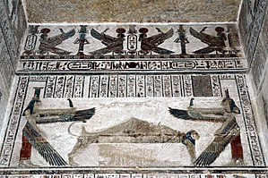 Egyptian mythology - Temple decoration at Dendera, depicting the goddesses Isis and Nephthys watching over the corpse of their brother Osiris