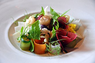New Danish cuisine - New Nordic dish with local, seasonal ingredients from Restaurant Noma, Marrow with pickled vegetables.