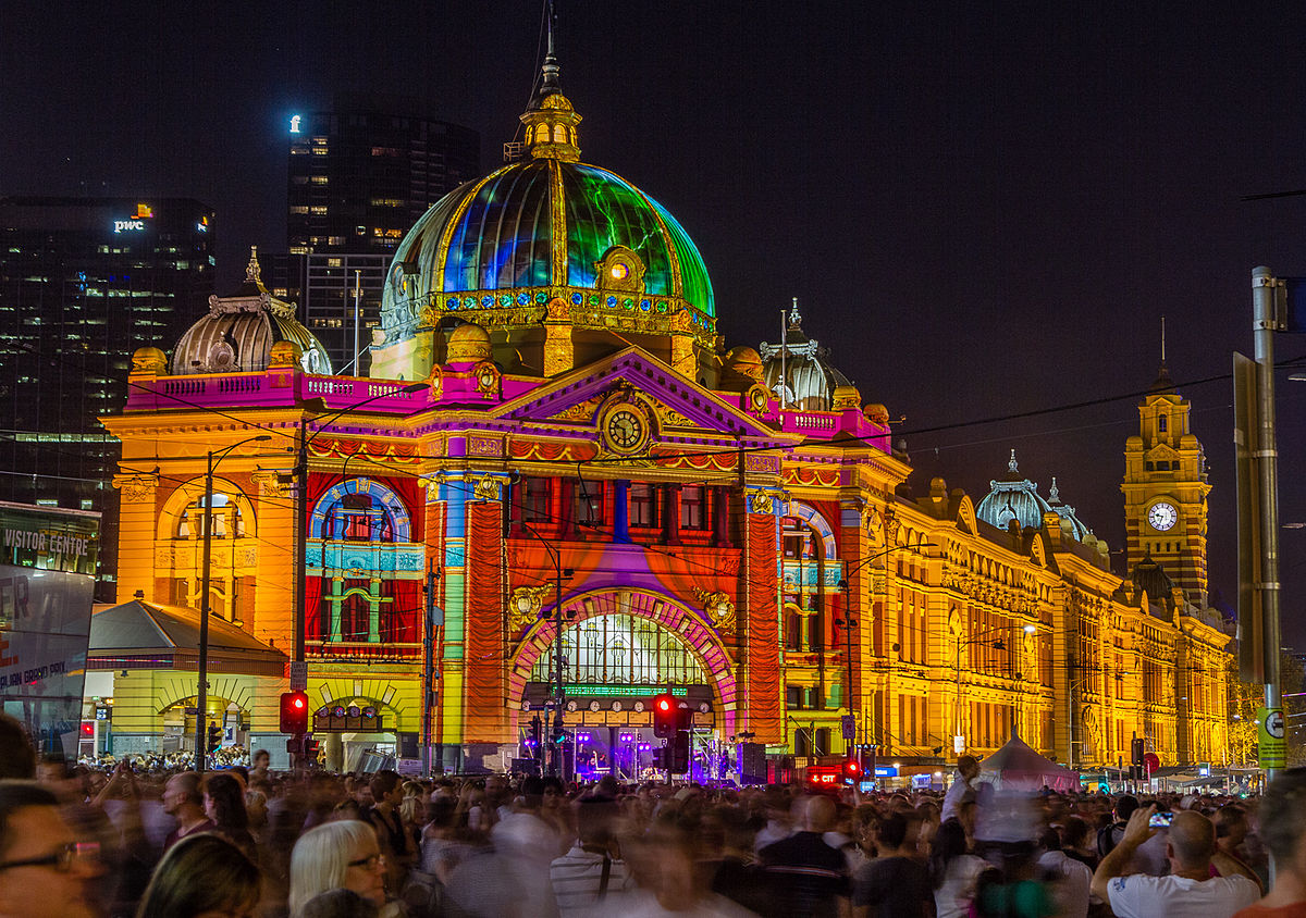 Flinders Street Station during White Night.jpg