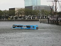 "A ""Floating Dutchman"" amphibious bus near the Nederlands Scheepvaartmuseum in October 2011"