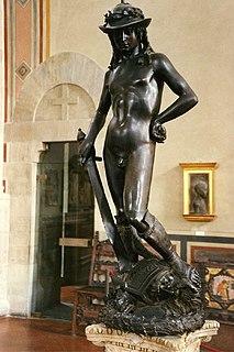 <i>David</i> (Donatello) Bronze statue by Donatello