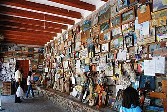 Votive paintings of Mexico - Room dedicated with votive paintings and other ex votos at the Sanctuary of Chalma in Mexico State