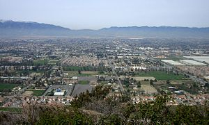 Fontana, California - Fontana as seen from Mount Jurupa, looking north towards the Cajon Pass.
