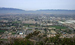 Fontana, California - Fontana as seen from Mount Jurupa, looking north towards the Cajon Pass.