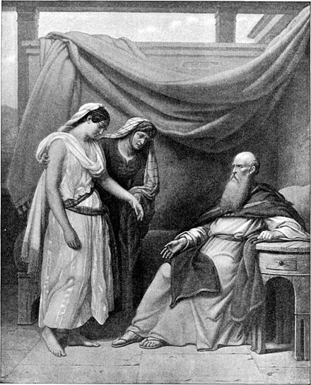 Abraham, Sarah and Hagar, imagined here in a Bible illustration from 1897. Foster Bible Pictures 0032-1.jpg