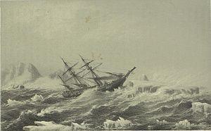 Fox (ship) - Fox in a hurricane from Fox-Expeditionen i Aaret 1860 over Færøerne, Island og Grønland.
