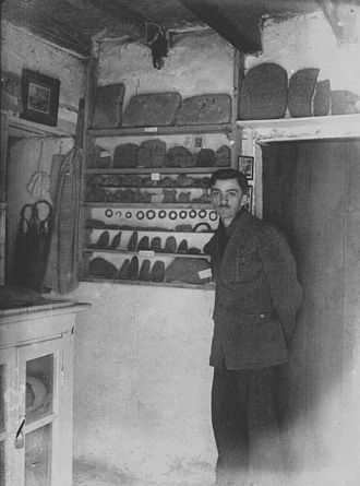 Glozel - Young Émile Fradin inside his museum