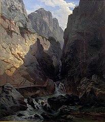 Narrow pass and mountain river at Kesselbach, Bavaria