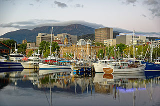 Hobart City in Tasmania, Australia