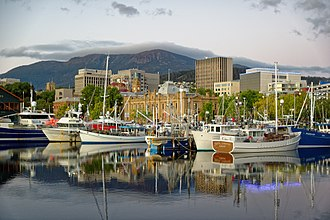 Hobart - Hobart city centre from Franklin Wharf, 2015