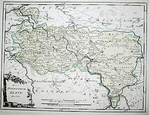Lower Rhine region - Historic map of the Duchy of Cleves by Johann Joseph von Reilly (ca. 1794)