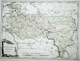 Lower Rhine region - Historic map of the Duchy of Cleves by Johann Joseph von Reilly (ca. 1794)
