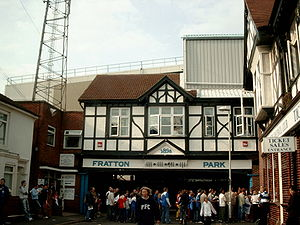 Portsmouth F.C. - The entrance to Fratton Park's South Stand, with its mock Tudor facade