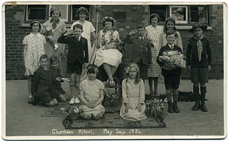 Chiseldon - May Day at Chiseldon School 1934, by Fred C Palmer