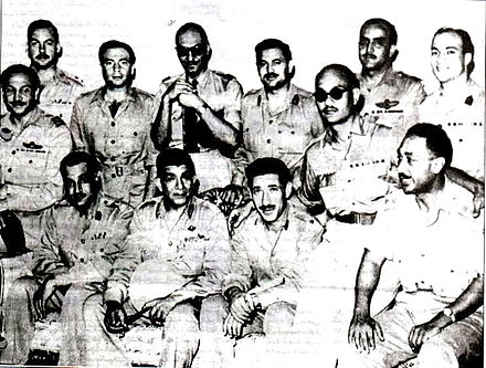 The Free Officers Movement overthrew the Egyptian monarchy. The bottom row from left to right includes the Gamal Abdel Nasser, the movement's operational leader and Egypt's second president, Muhammad Naguib, Egypt's first president, Abdel Hakim Amer and Anwar Sadat, Egypt's third president Free Officers, 1952.jpg