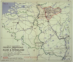 Schuman Declaration - Map showing details of the 1946 French proposal for the detachment of the Ruhr area and parts of the Rhineland from Germany.