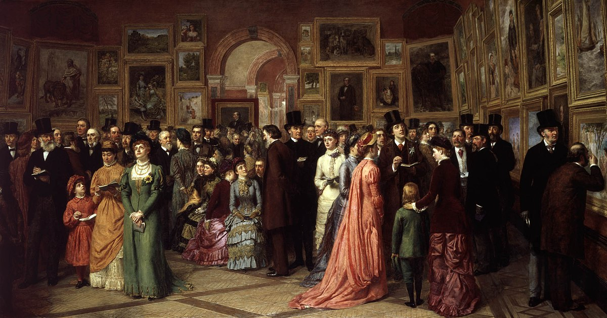 Znalezione obrazy dla zapytania A Private View at the Gallery, a painting by William Powell Frith