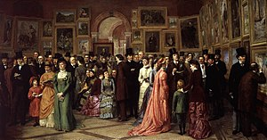 Royal Academy Summer Exhibition - A Private View at the Royal Academy, 1881 by William Powell Frith, depicting Oscar Wilde and other Victorian worthies at a private view of the 1881 exhibition