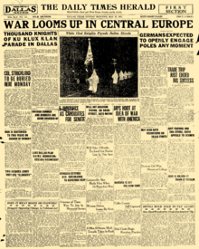 Front page of The Dallas Times Herald on May 22, 1921.png