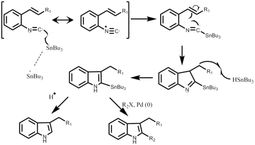 Step-wise mechanism of Fukuyama Indole Synthesis starting with the Isocyano substituent.