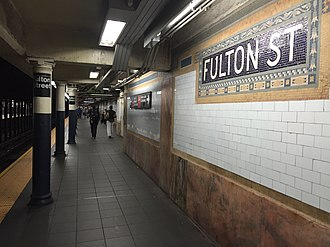 Fulton Street (New York City Subway) - Uptown platform