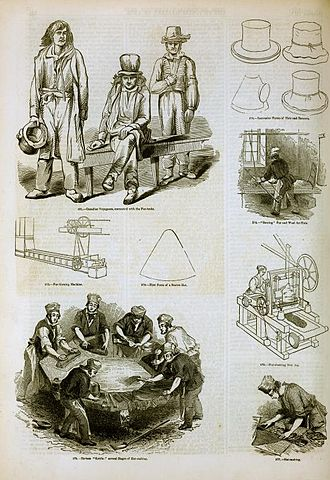 Hatmaking - Canada's early fur trade was largely built on the fashion for beaver hats in Europe, particularly top hats. The steps in manufacturing hats are illustrated in this image from 1858.
