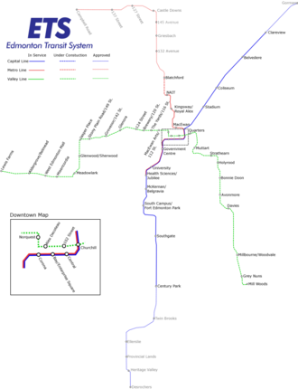 Capital Line - Approved LRT lines and stations