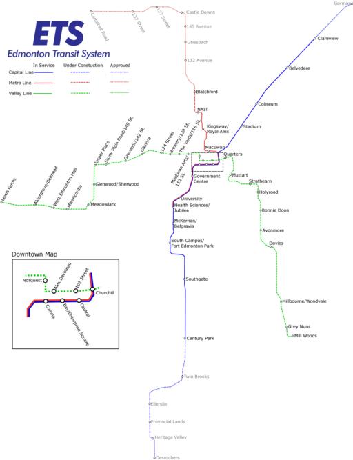 Calgary Subway Map.Light Rail Edmonton Metro Map Canada