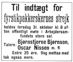 Oscar Nissen - Poster announcing a public meeting during the 1889 match factory workers' strike