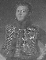 Black and white print shows a clean-shaven man in a hussar uniform.